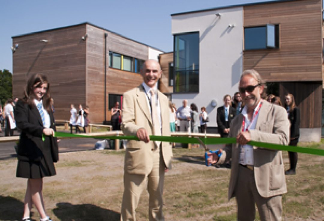 L-R  Katie Barnett, Principal Gareth Davies and sculptor Peter Randall Page