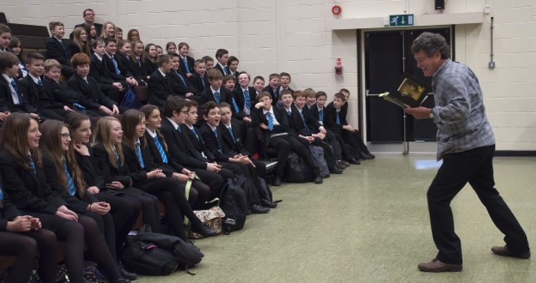 Brian Patten acting out one of his poems to our Year 7 students