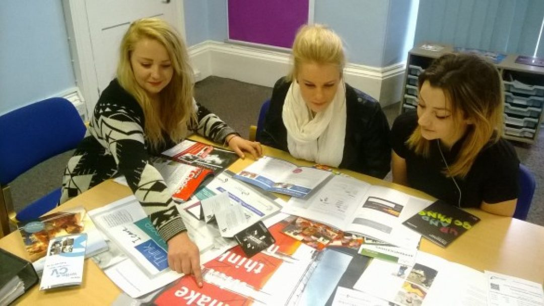 Sixth Formers looking at careers information