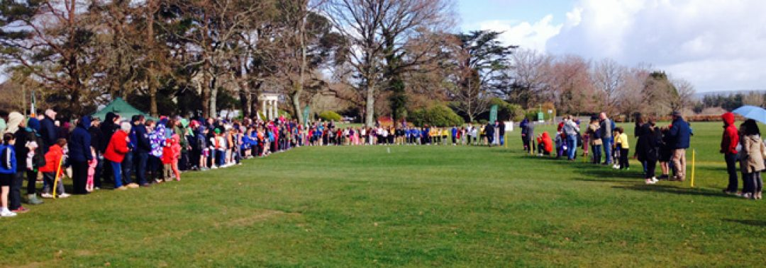 Primary pupils at the starting line watched by family and friends.