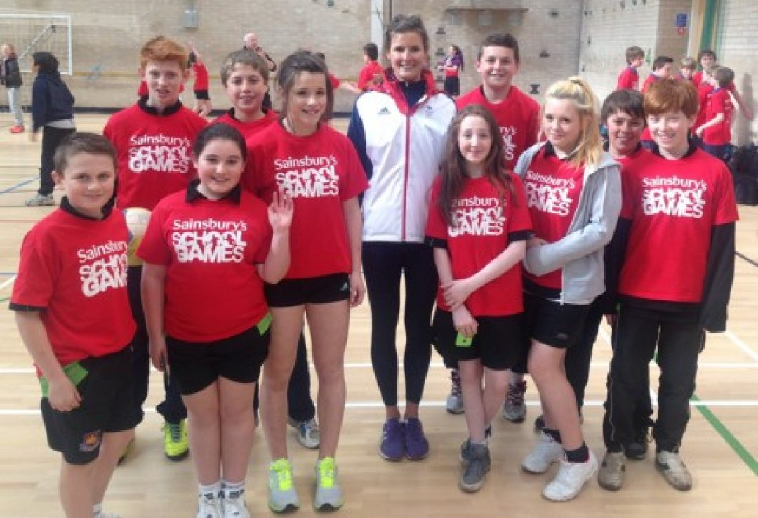 Newton Abbot College students enjoyed meeting Zara Dampney (centre) who represented Team GB in beach volleyball at the London 2012 Olympics.