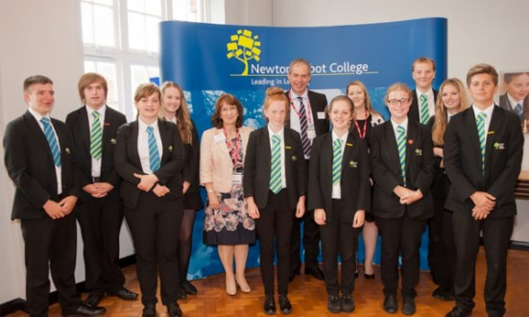 Newton Abbot College students with (L-R) Jacquie Bamber, BITC Education Manager, Dave Beaumont, Lloyds Bank, and Tracy Rees, BITC Community Impact Manager.