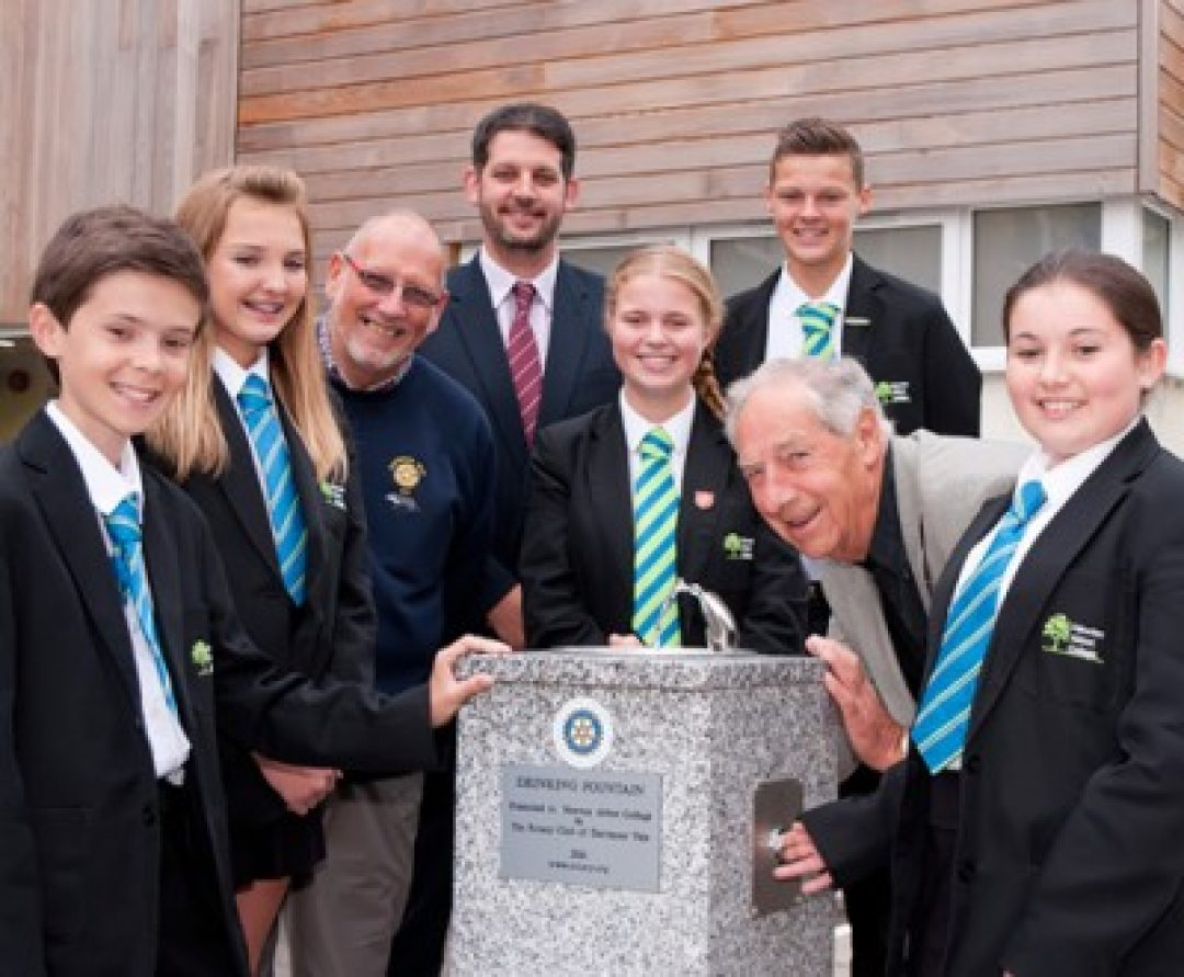 Tyler Bidgood, Holly Flory, Keith Choules (Dartmoor Vale Rotary Club Photographer), Paul Cornish (Head of School), Megan Selley, Ryan Flory, Paul Flory (Ex-President, Dartmoor Vale Rotary Club) and Alice Patten