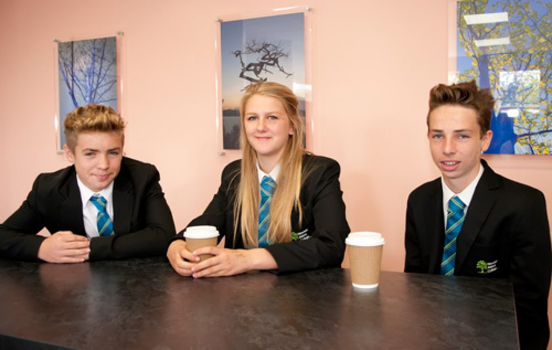 Corey Price, Lucy Jarrett and Finlay Holmes in Cafe DC