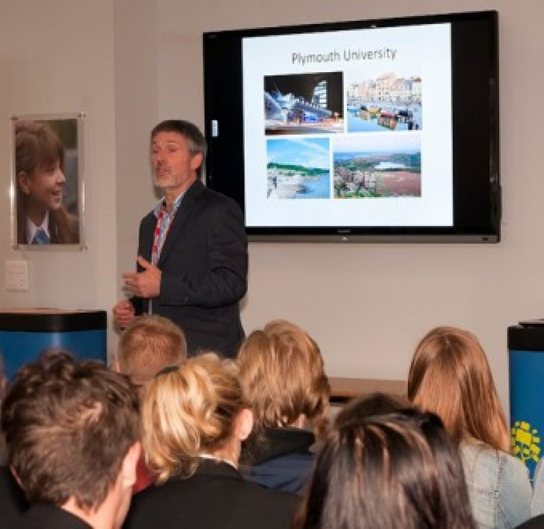 Dr Coath giving his talk to Newton Abbot College students