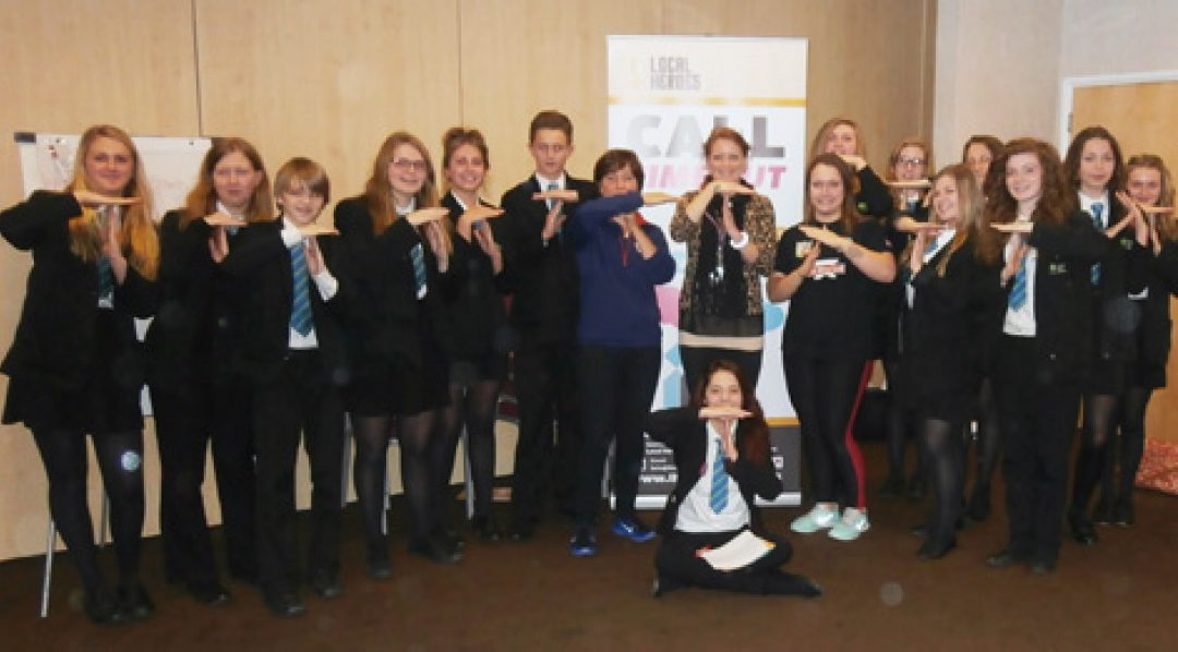 Year 10 students with Shachar Head, a former Newton Abbot College student