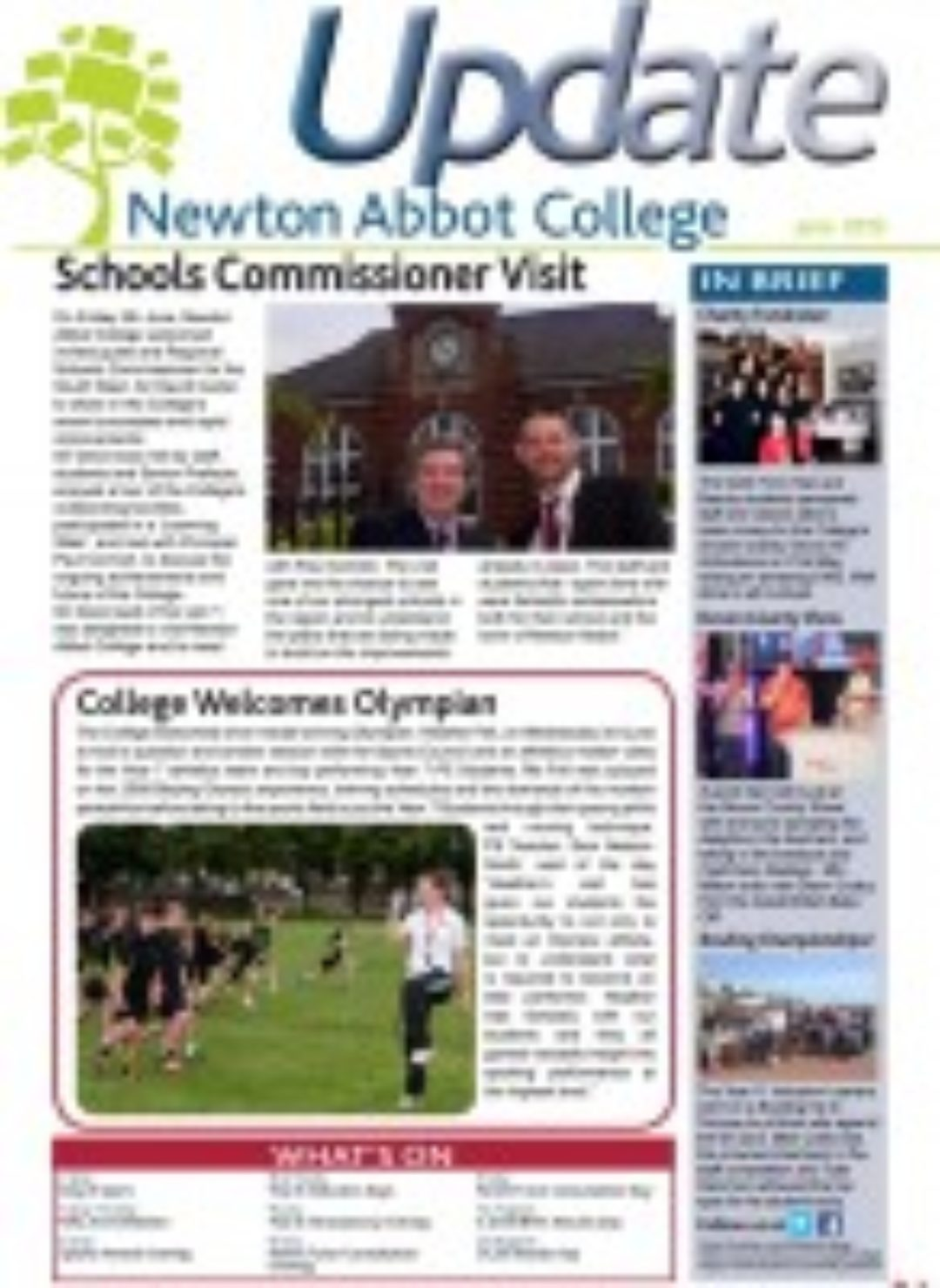 June Update Newton Abbot College Heather Fell Sir David Carter 2015