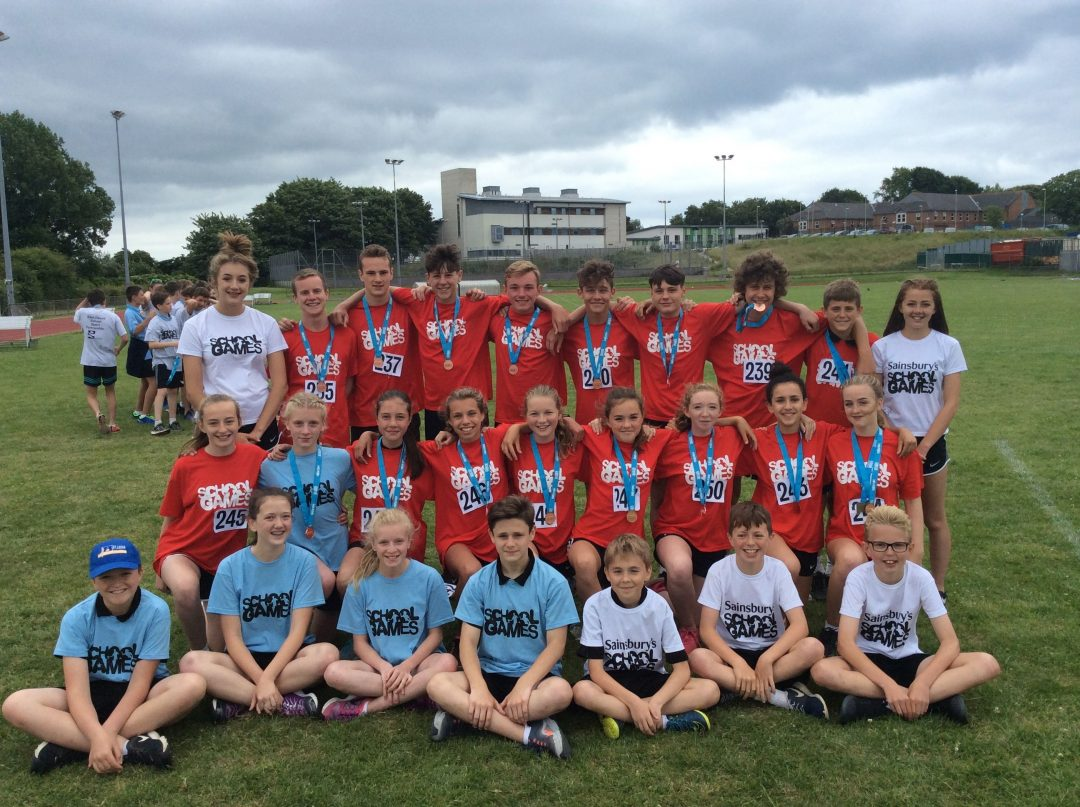 Student competitors and sports leaders at the Devon Summer School Games