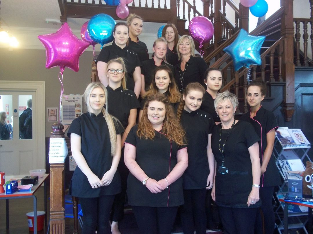 Sixth Form Hair and Beauty Staff and Students during the charity day