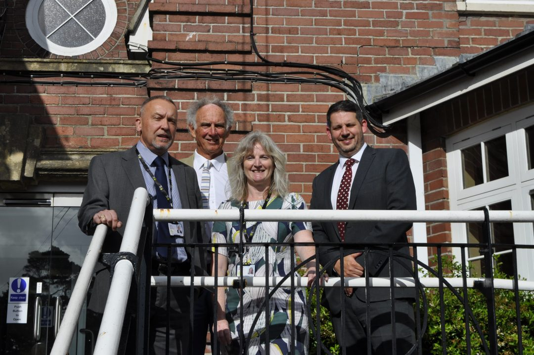 L-R Chair of Governors Steve Joint, Barry reeves, Tami Harrison and Principal Paul Cornish