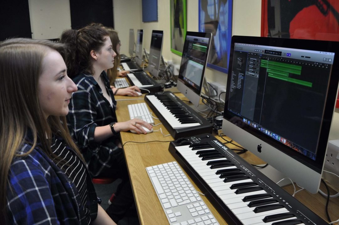 Sixth Form Music students working on new iMacs