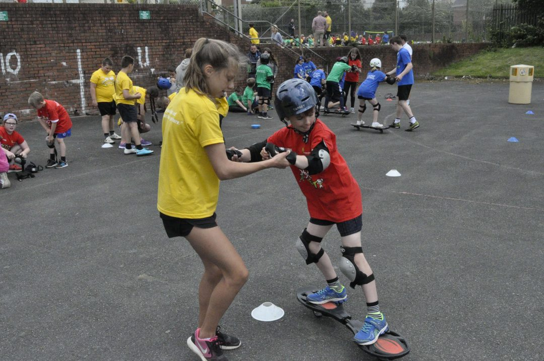 Student Leaders helped pupils with a range of activities, including street surfing