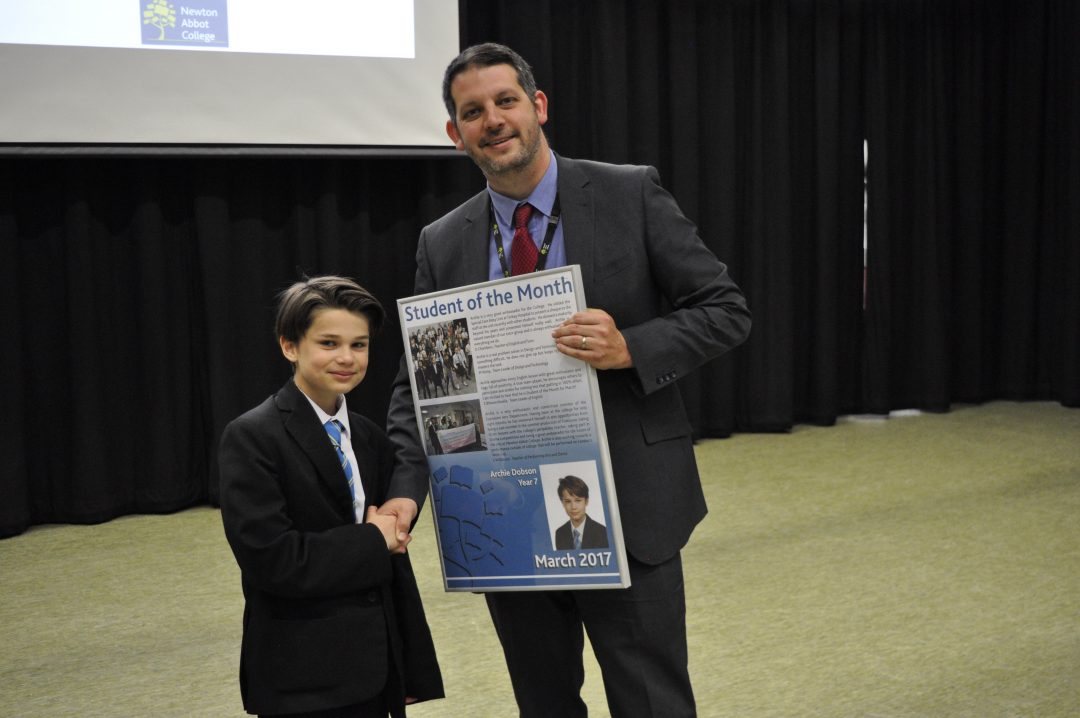 Archie Receiving his award from Mr Cornish