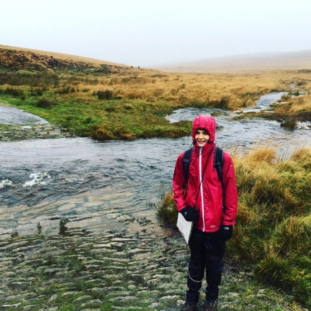 Erin braving the elements on her sponsored walk