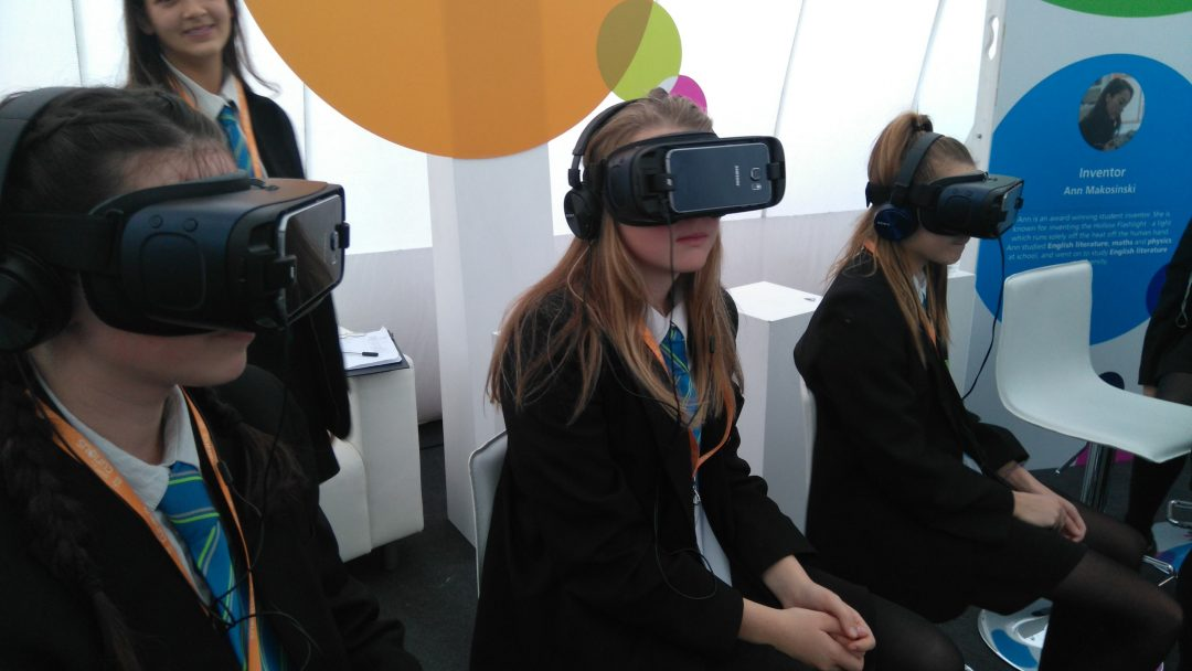Students using virtual reality headsets