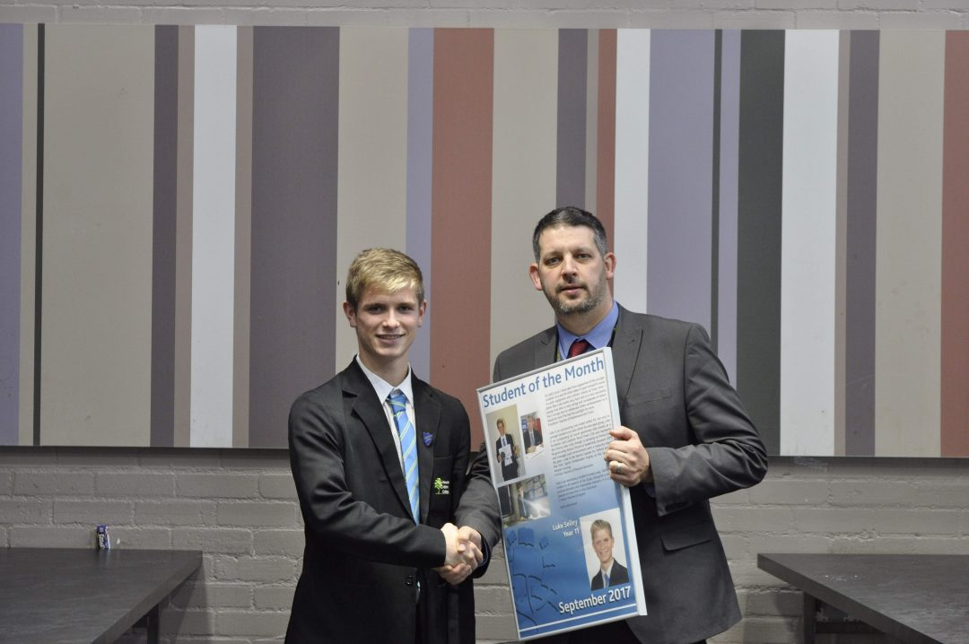 Luke receiving his award from Mr Cornish