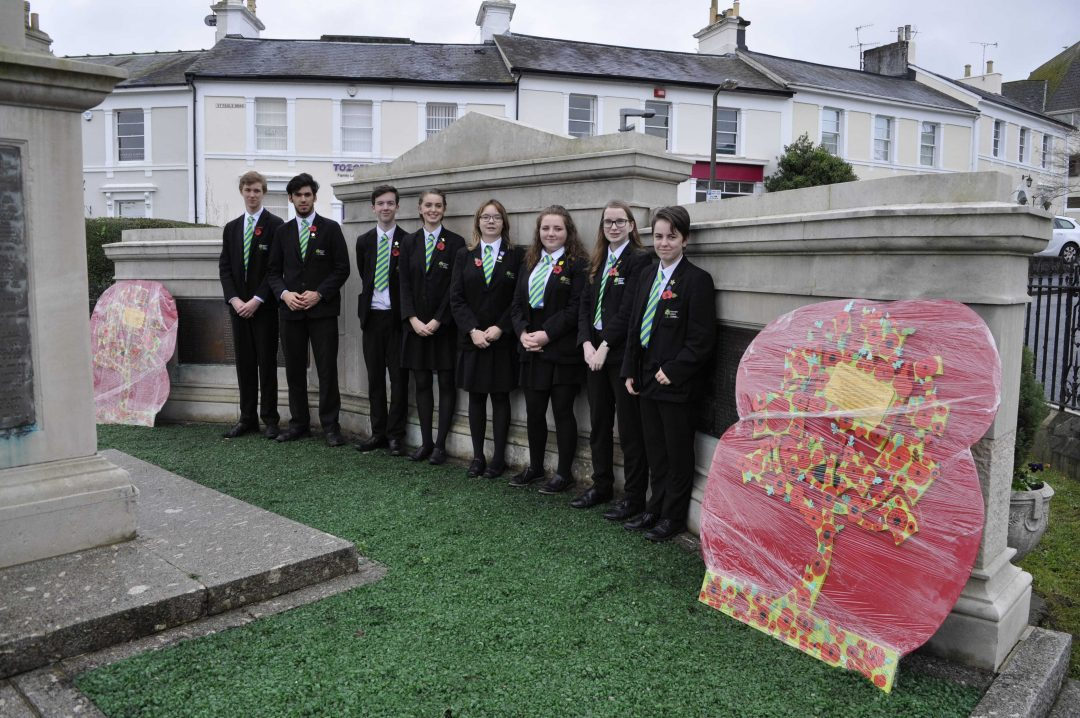 College Year 11 Prefects at the War Memorial in Newton Abbot