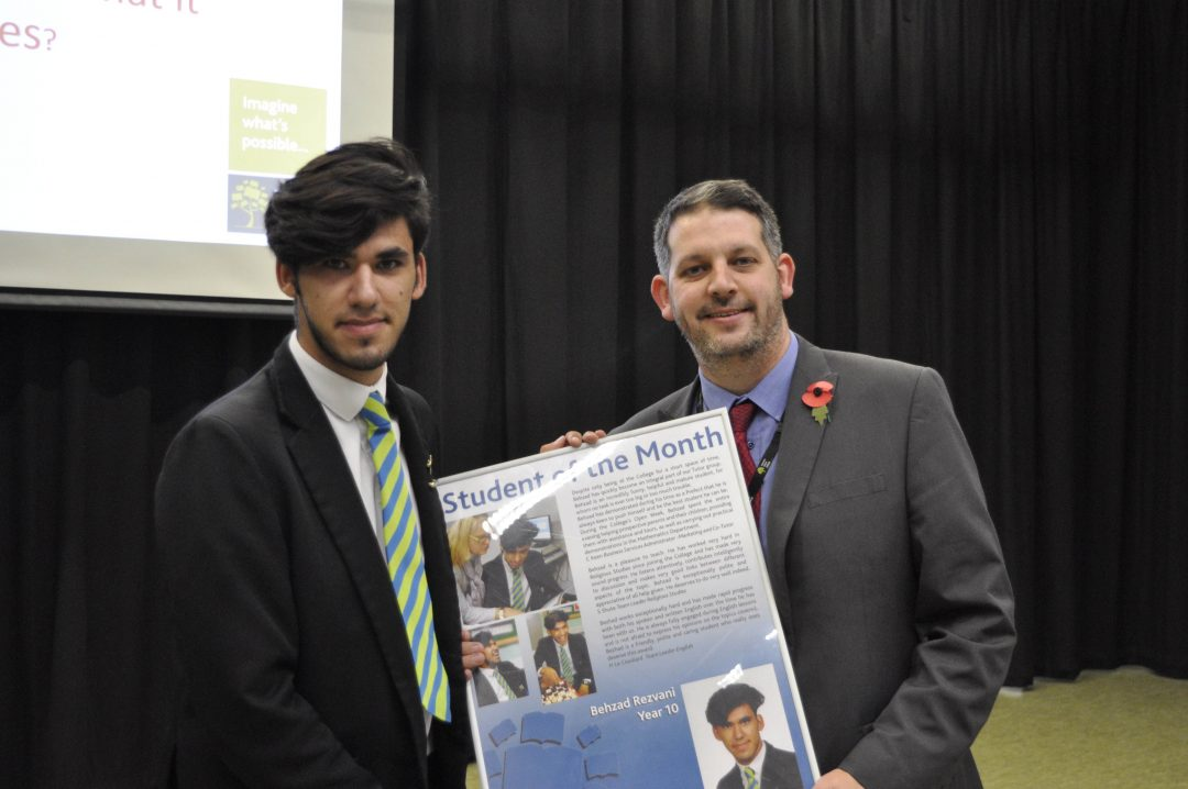 Behzad receiving his award from Mr Cornish