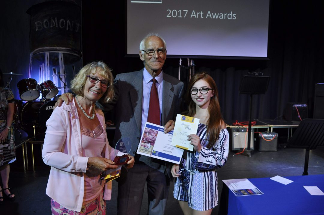 Roger and Annie Kirk from the Helen Foundation with award winner Ellie Jackson