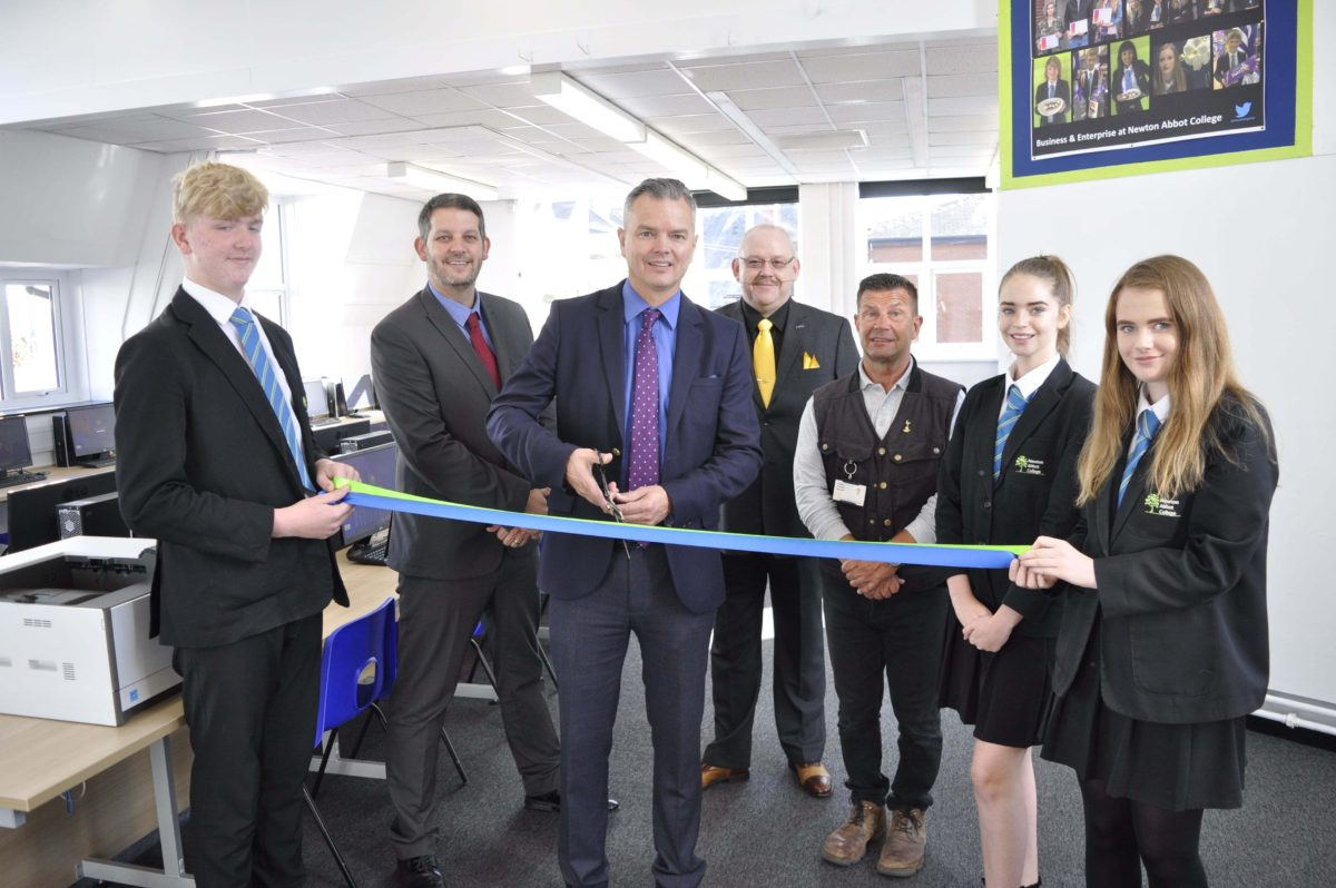 Leader of Teignbridge Council, Jeremy Christophers opens the College's newly refurbished IT rooms