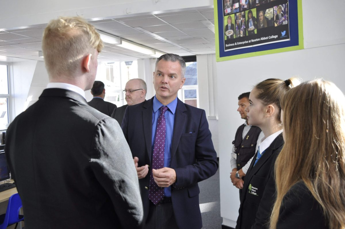 Mr Christophers spent time chatting to staff and students