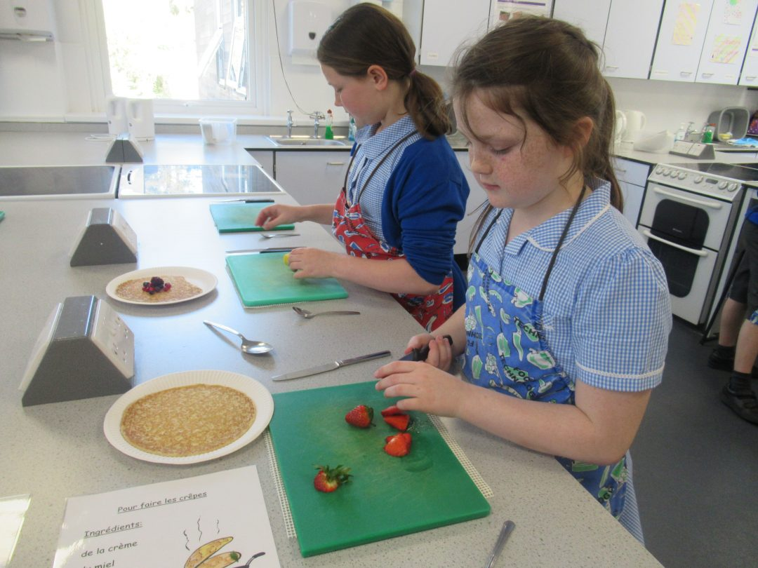 Pupils followed recipes in French to make their smoothies and crepes