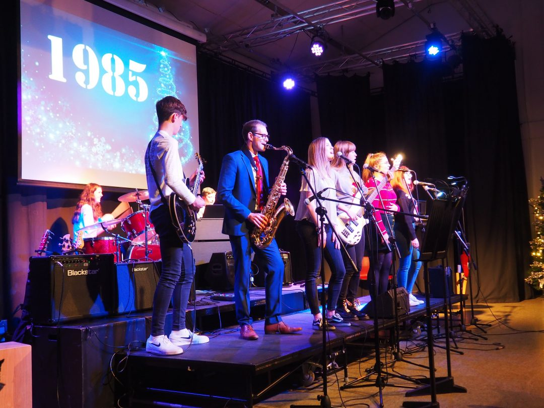 The College Band performing in 'A Night Before Christmas'