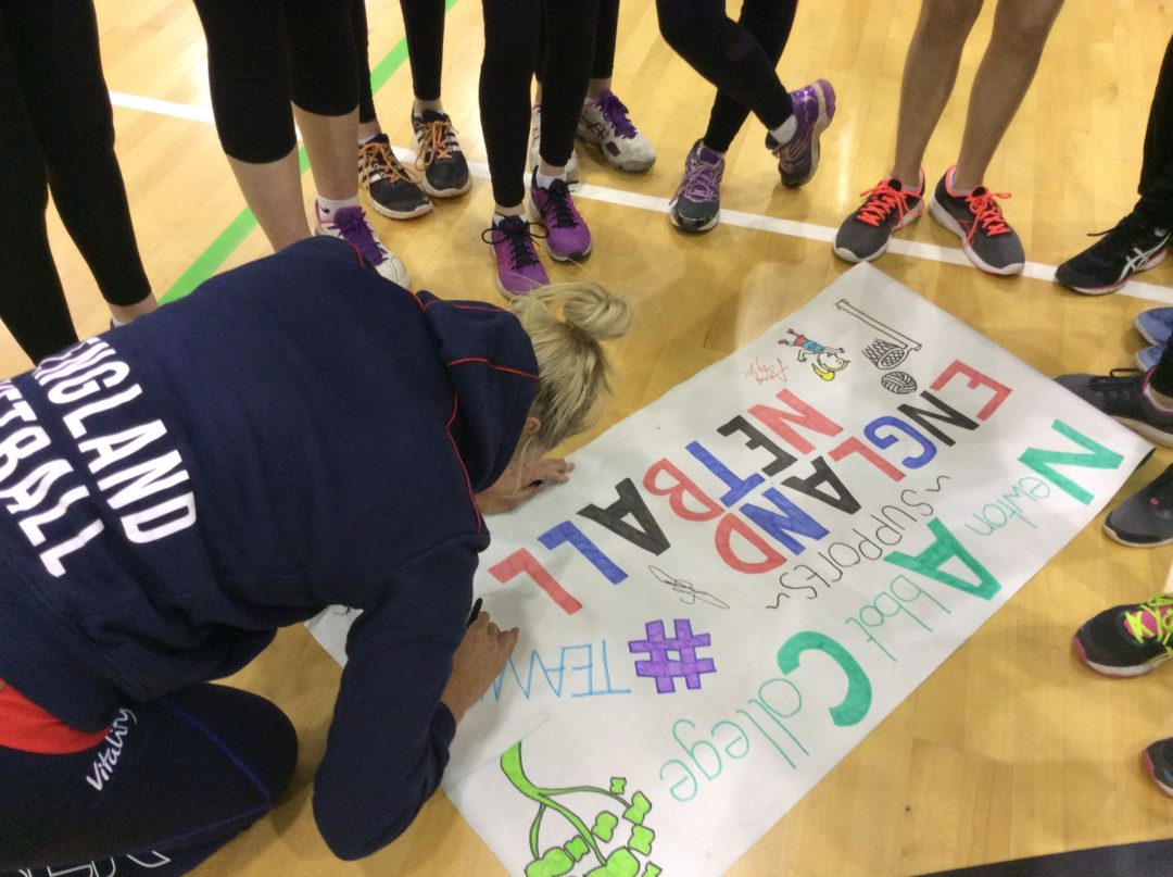 Students got their banner signed by the players