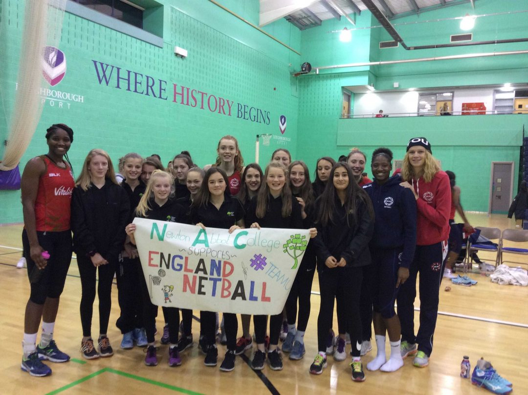 Newton Abbot College netball players with England squad members