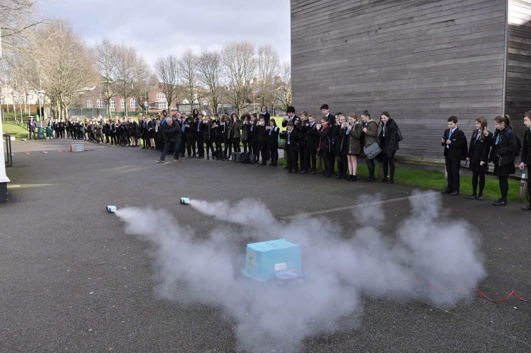 Rocket cars were launched as part of the 'Race for the Line' event