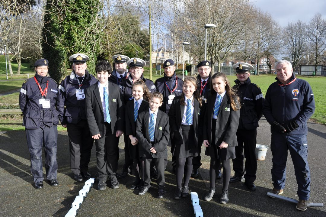 Year 7 students with members of the Royal Navy