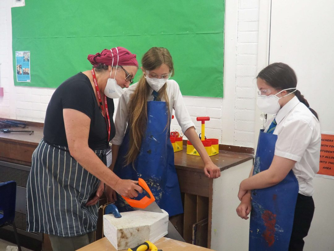 Local Artist Anne-Marie Scott worked with Year 9 students to help produce their stone carvings