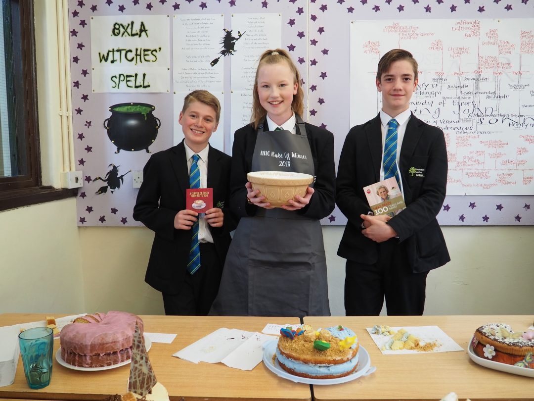 L-R 'Bake Off' Winners Ellis Murphy, Jazmin Atkinson and Anthony Ward with their prizes