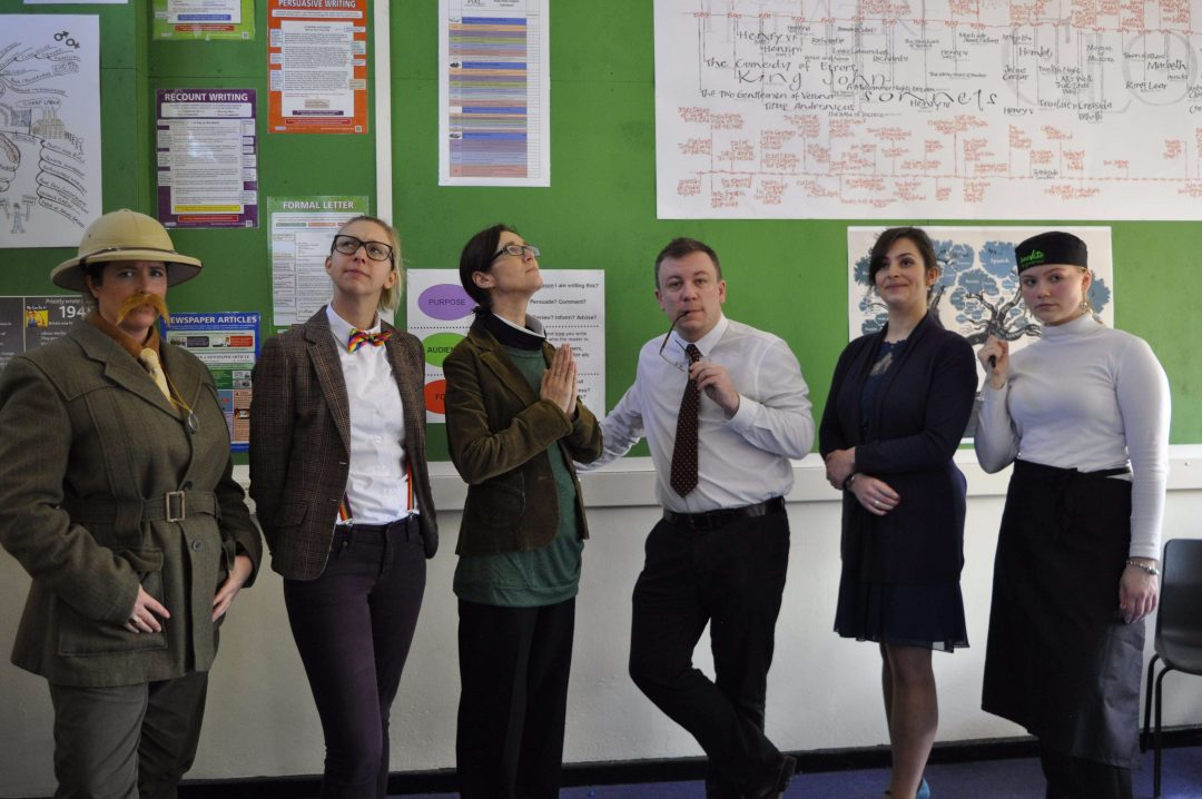 The English Department became Cluedo characters for the day and challenged students to solve the murder of 'Mr Black'