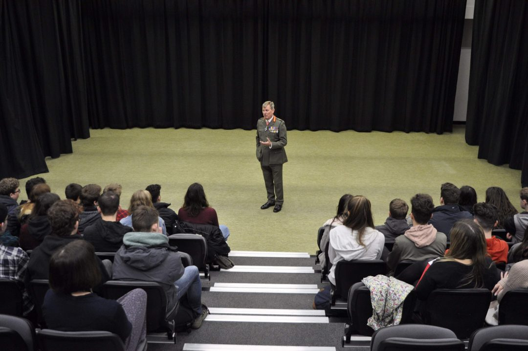 General Hook addressed the College's Year 10 and 12 students