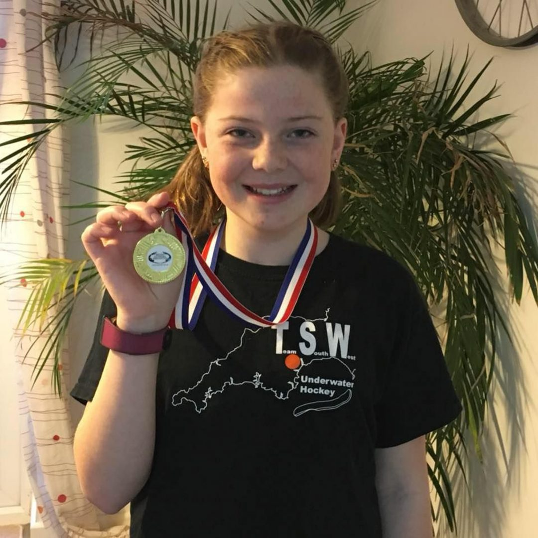 Tilda Lakey, U12 Underwater Hockey Regional Champion