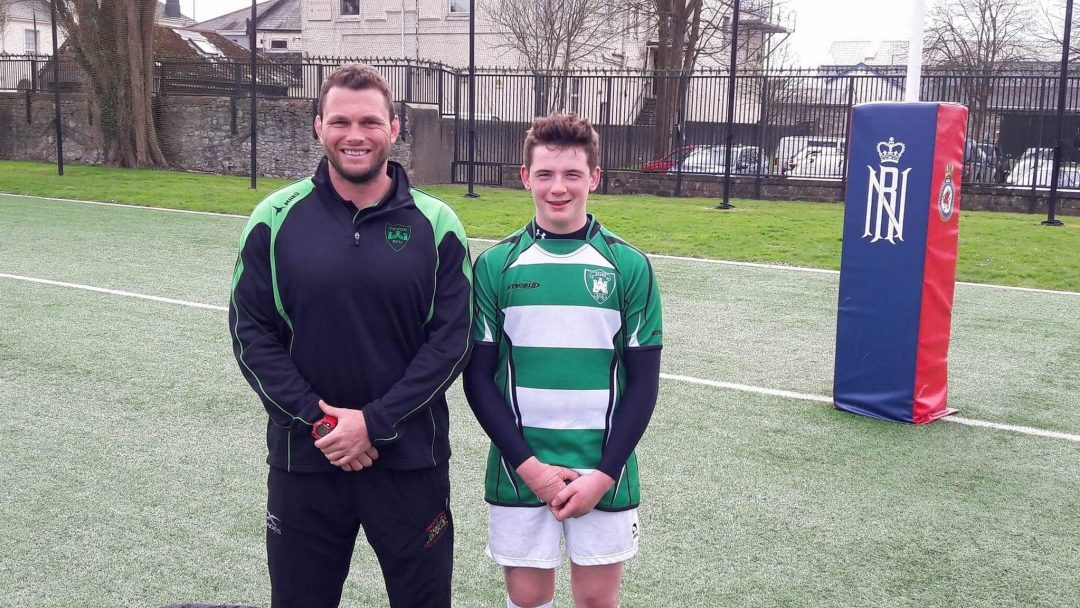 Team Leader of PE, Jamie Salter and rising rugby star, Josh Day