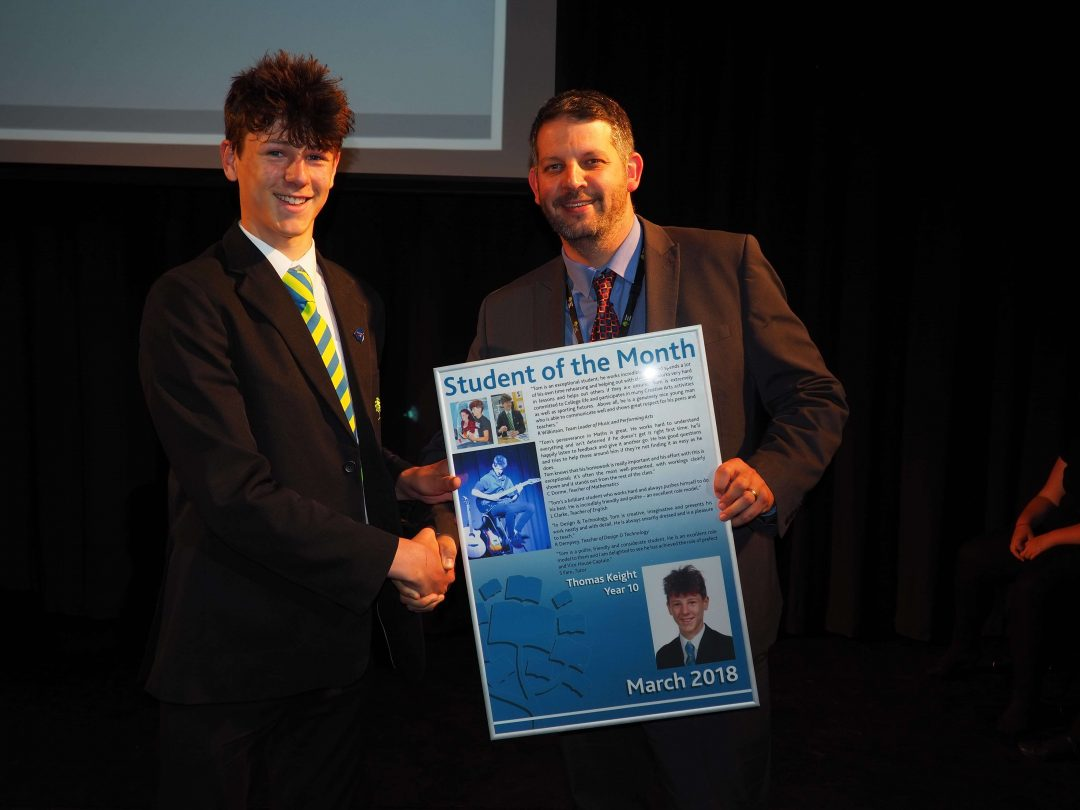 Tom receiving his award from Mr Cornish