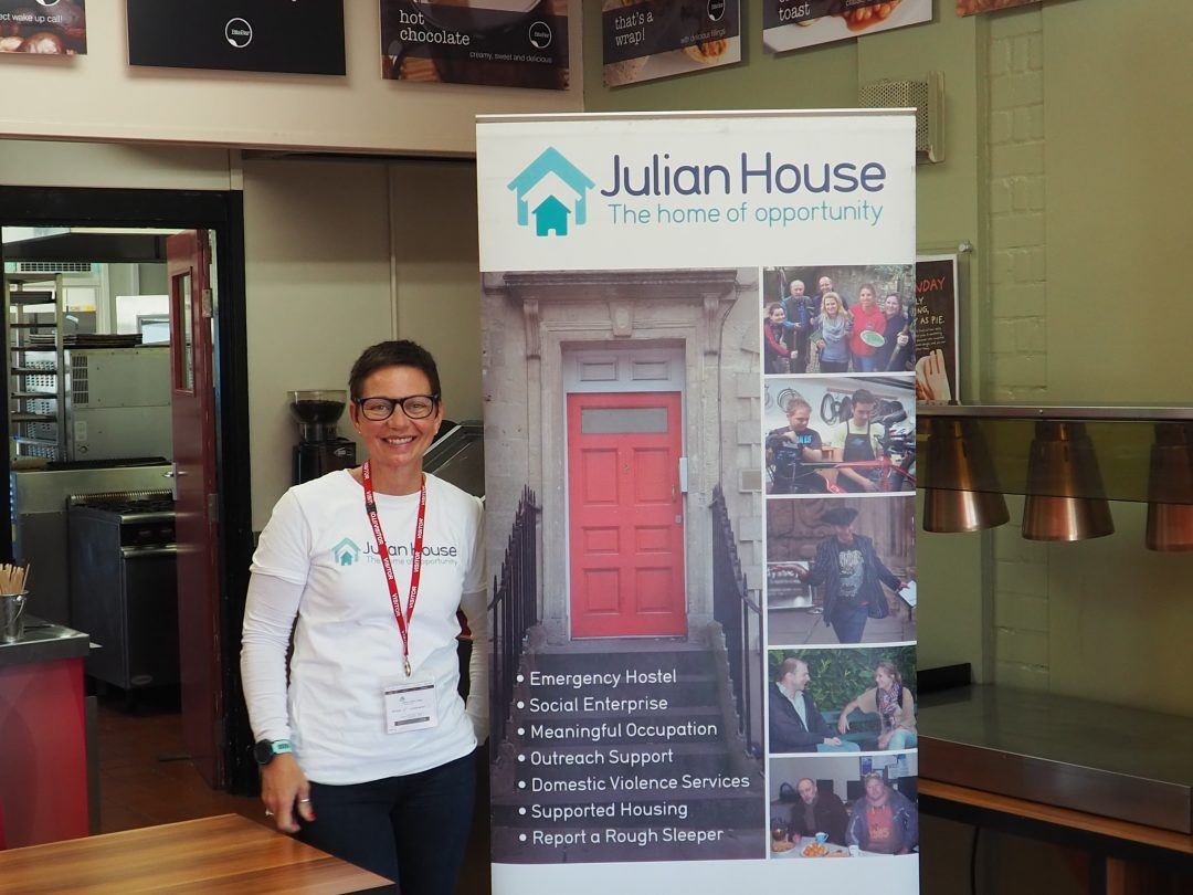 Sarah Lakey, representative from Julian House, at the College's recent Careers Fair