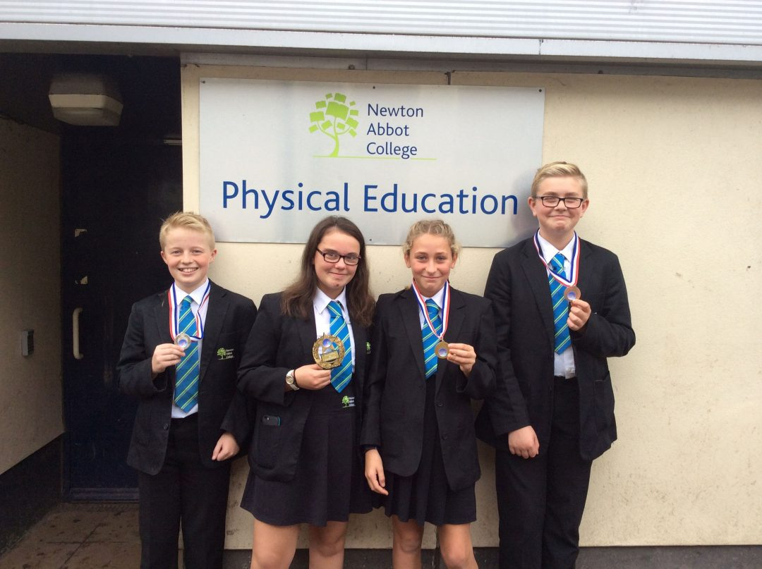 L-R Archie Brooks, Ellie Brooks, Jasmine Drew and Sam Medland-Gray with their medals