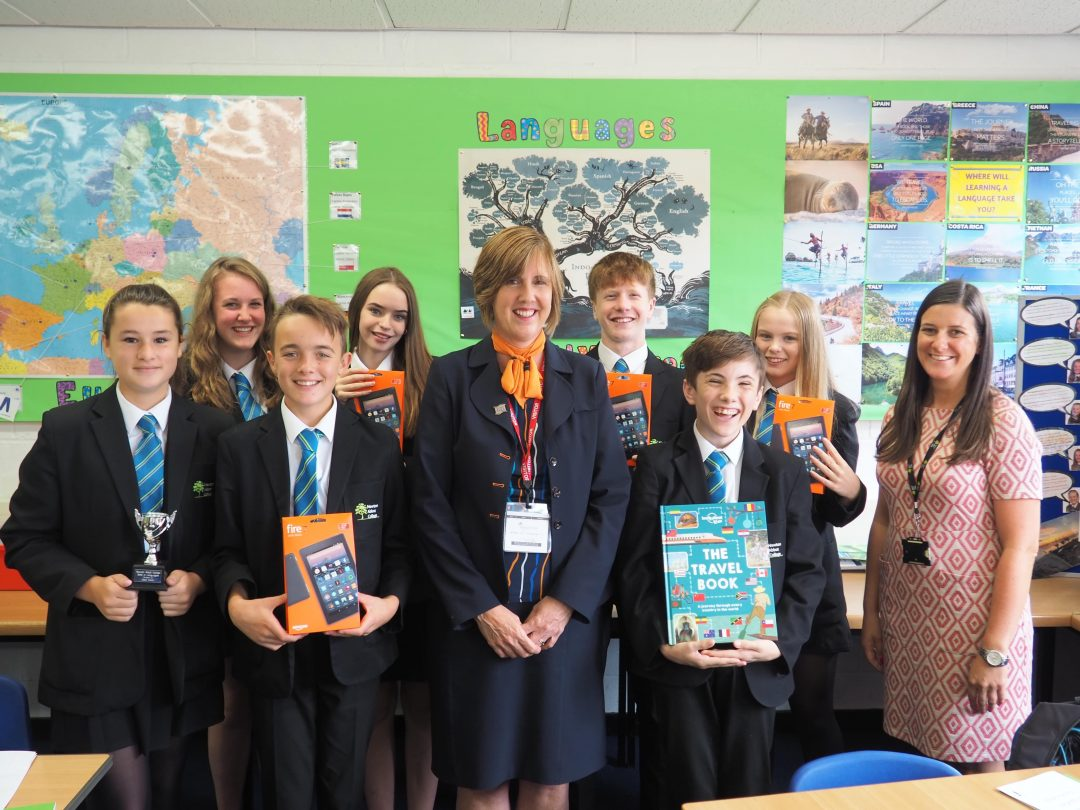 Hays Travel Representative, Jenny Bovey, with Hannah Brown (r) and students