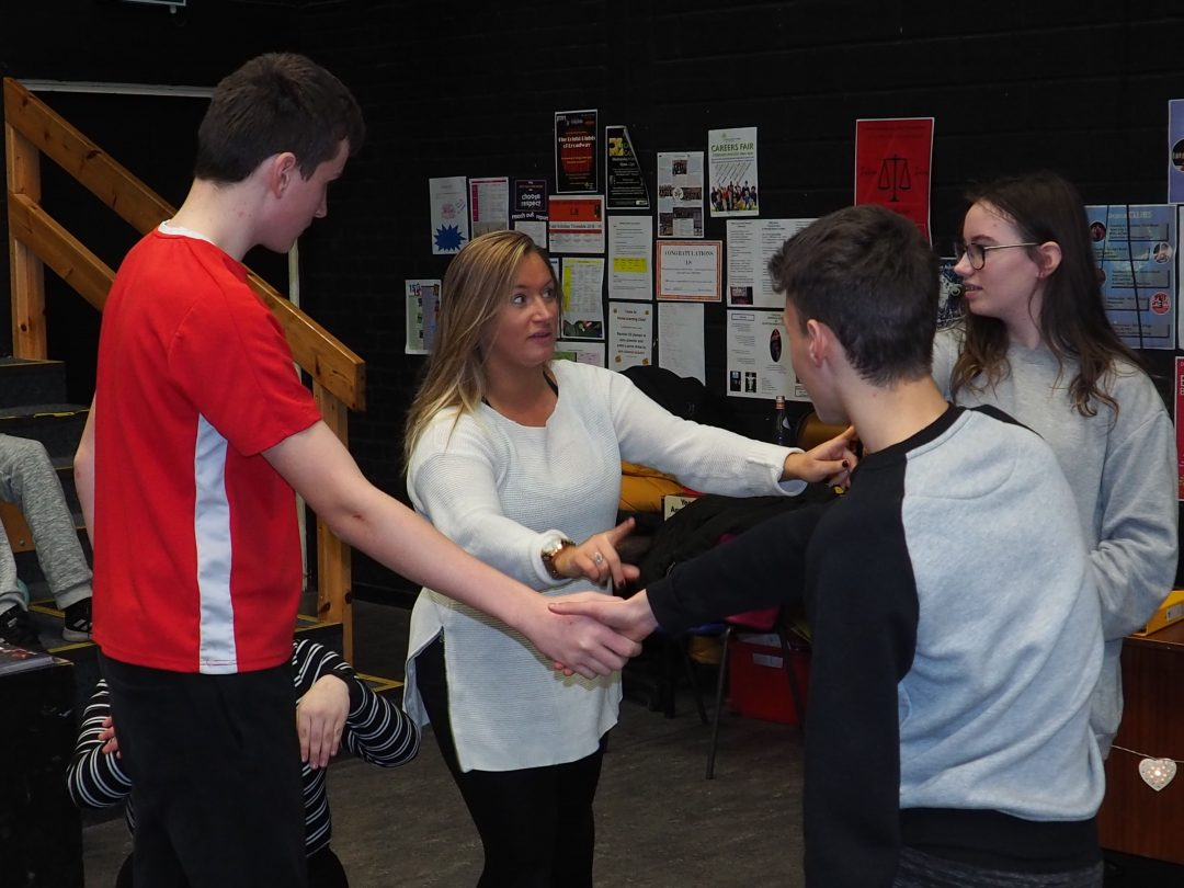 Workshop leader, Polly Ferguson-Carruthers, with Year 9 Drama students