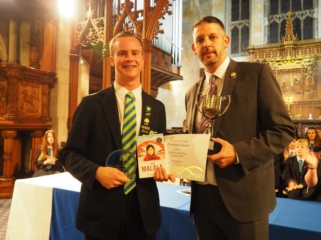 Principal's Prize winner, Zak-Ray Linley-Moss and Mr Cornish