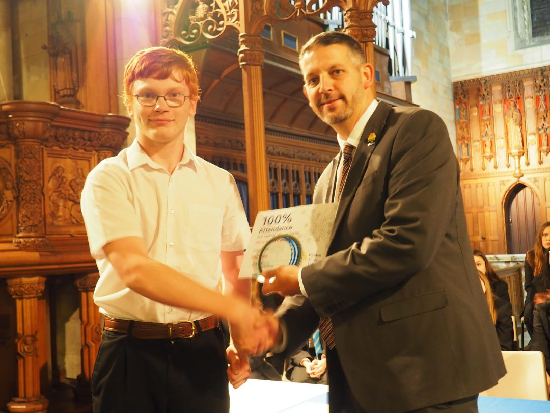 Year 12, John Scarrett was recognised for his 100% attendance record from Years 7-11