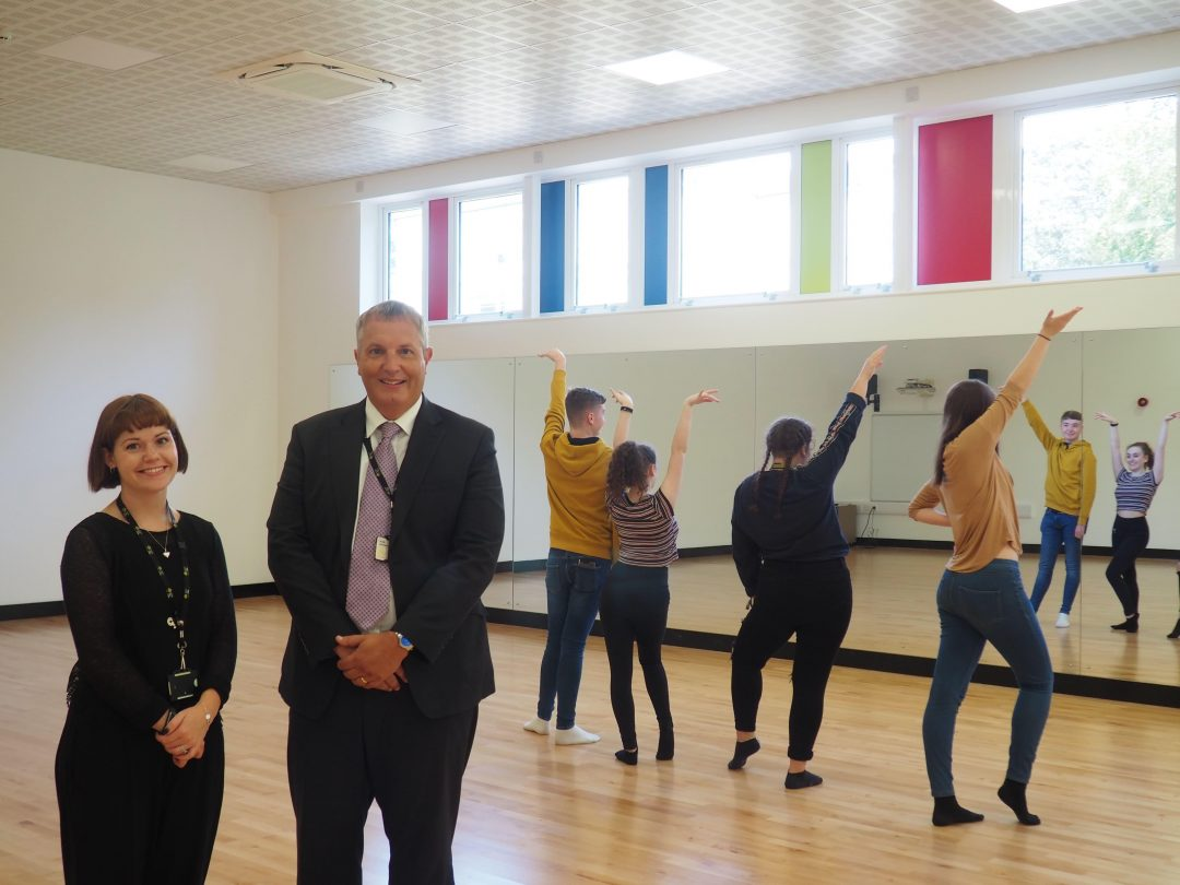 Teacher of Performing Arts and Dance with Business Manager, Nick Hill in the new Dance Studio