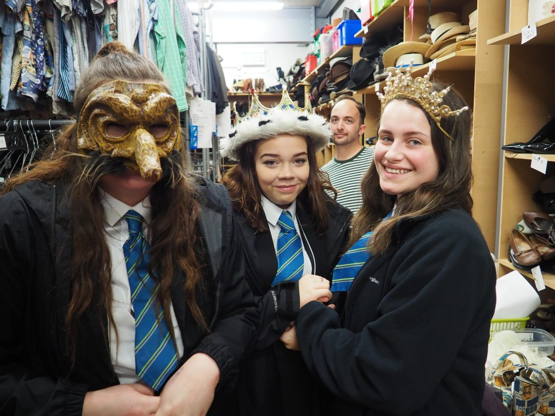 Students had the opportunity to try on costume accessories in TR2