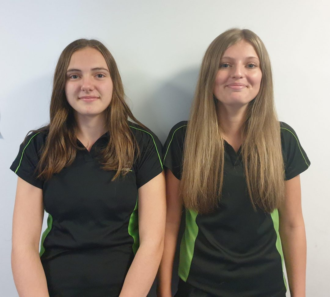 Gemma (L) and Emily were both successful in their netball trial