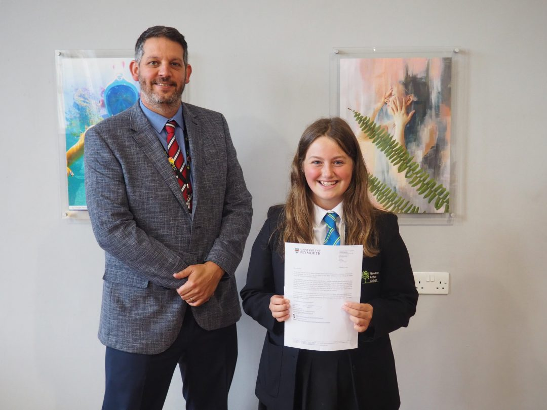 Emilia Wills with her prize letter